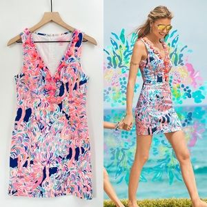 Lilly Pulitzer Cabrey Shift Dress Pelican Pink Head In The Sand Size 2